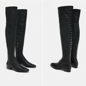 ZARA Woman • Over the Knee Studded Boots